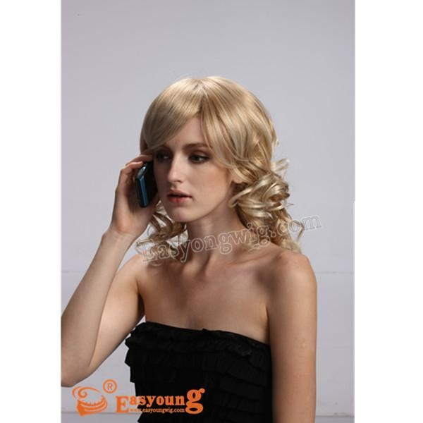 Quality Lady's long hair style curly blonde wigs YS-9032 for sale