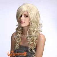 Honey blonde long curly synthetic hair wigs W71 Manufactures