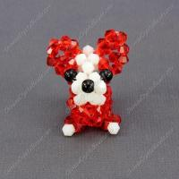 Crystal 3D beading Papillon puppy dog Charm Kit, 35x30mm, red Manufactures