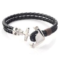 Logo Custom Wholesale Nautical Navy Leather Rope Stainless Steel Black Anchor Charm Bracelet For Men Manufactures