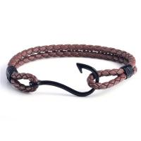 Wholesale Custom Nautical Leather Rope Black Metal Clasp Logo Engraved Fish Hook Bracelet Manufactures