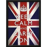 Motivational Keep Calm and Carry On (Motivational Union Jack Flag) Art Poster Print Manufactures