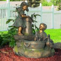 Country Children and Water Pump Fountain w/LED Lights by Sunnydaze Decor Manufactures