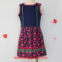 Sleeveless Flower Printed Dress Cotton Fancy Dress with Ribbons for Girls Manufactures
