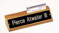 Badges / Desk Plates / Wall Plates #535BK Wood Block Name Plate with Business Card Holder Manufactures