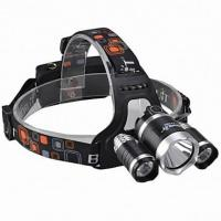 China Rechargeable 3*CREE XML T6 4-Mode LED 10w High Power Headlamp(3000lm,2*18650,Black) on sale