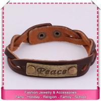 China Pu leather cuff bracelet with engraved metal plate, hot sale engraved leather bracelets on sale