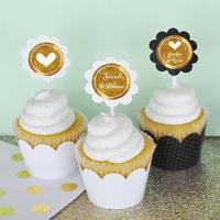 China Personalized Metallic Foil Cupcake Wrappers & Cupcake Toppers (Set of 24) - Wedding on sale