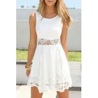 White Lace Insert Waist Tanks A-line Dress Manufactures