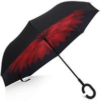 China Rainlax Inverted Umbrella Double Layer Windproof UV Protection Umbrellas (Black,Red Daisies) on sale