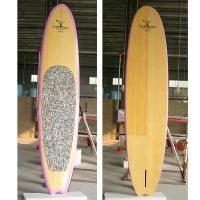 Bamboo Veneer Sup paddle board with Pink Color Rail Manufactures