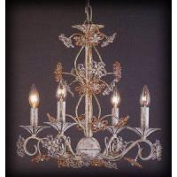 Chandeliers Rosa/Clear Bead Flower 4 Light Chandelier Antique White Finish Manufactures