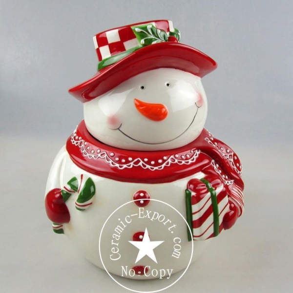 Quality Christmas Ceramic Wholesale Christmas Snow Man Ceramic Canister Factory for sale