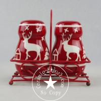 Christmas Ceramic Christmas Reindeer Ceramic Slat N Pepper With Metal Stand Wholesale Manufactures