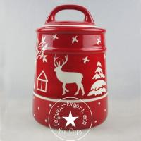 Christmas Ceramic Wholesale Christmas Reindeer Ceramic Big Canister Factory Manufactures