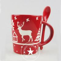 Christmas Ceramic Wholesale Christmas Reindeer Ceramic Mug With Spoon Supplier Manufactures