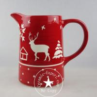 Christmas Ceramic Wholesale Christmas Reindeer Ceramic Big Jug Pitcher Manufacturer Manufactures
