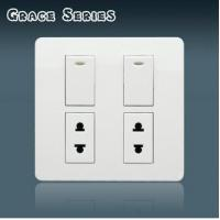 VPON Manbang TWO GANG SWITCH WITH 2 SOCKET Manufactures