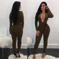 Buy cheap Long Sleeve Deep V Neck Sexy Jumpsuits from wholesalers