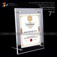 Buy cheap 7''acrylic Magnetic Certificate Frame from wholesalers