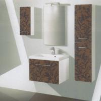 Buy cheap small PVC bathroom wall cabinet with two side cabinets and ceramic basin from wholesalers