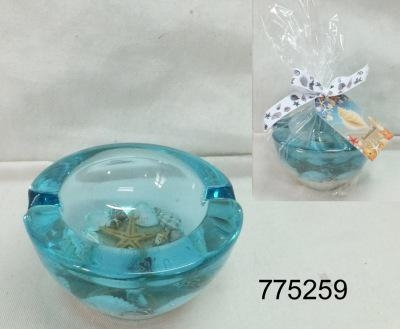 Quality Seascapes Glass Ash Tray w/Seascapes Bule Gel Inside for sale