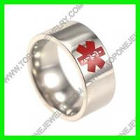 2016 Polish Stainless Steel Engravable Medical Alert ID Ring Manufactures