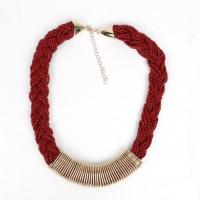 China Necklaces Garnet Bead Necklace Cord With Gold Ring GNK10497 on sale
