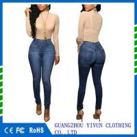 China Women Pants Casual Trousers For Ladies Blue Ripped high Waist Skinny Denim full Length Jeans on sale