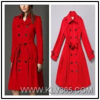 Designer Women Fashion Red Double Breasted Cotton Long Trench Coat Wholesale Manufactures