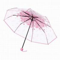 China Folding Umbrella Ladies 3 Folding Transparent Umbrella Parasol Pink Flowers Pattern Umbrella on sale