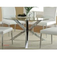 China 9 Inspirational Round Glass Dining Table Stainless Steel on sale