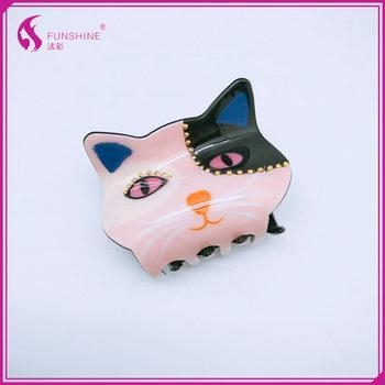 Quality Wholesale girls children cute hair claw clip kids large cats shape hair claw for sale