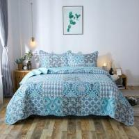 Quality Kasentex Country-Chic Printed Pre-Washed Quilt Set. Microfiber. Airy Blue for sale