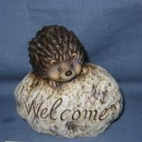 Quality Seasonal Crafts hedgehog standing on stone for garden for sale